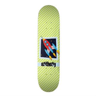 Space Ship; Lime Green & White Stripes Skate Decks