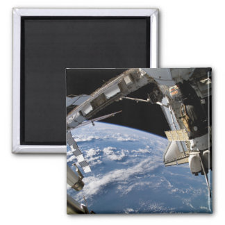 Space Shuttle Atlantis and a Soyuz spacecraft Square Magnet