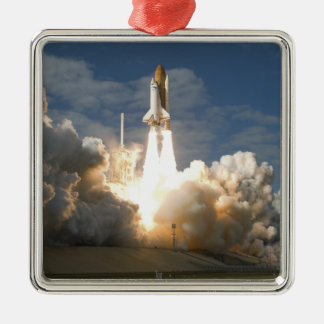 Space Shuttle Atlantis lifts off 24 Silver-Colored Square Ornament