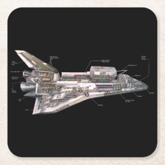 Space Shuttle Cutaway Square Paper Coaster