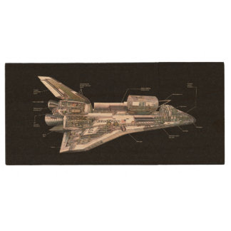 Space Shuttle Cutaway Wood USB Flash Drive