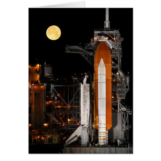 Space Shuttle Discovery and Moon Card