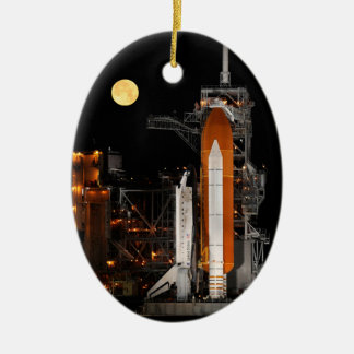 Space Shuttle Discovery and Moon Ceramic Ornament