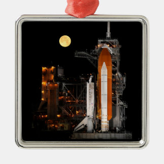 Space Shuttle Discovery and Moon Metal Ornament