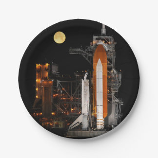 Space Shuttle Discovery and Moon Paper Plate