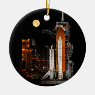 Space Shuttle Discovery and Moon Round Ceramic Ornament