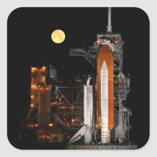 Space Shuttle Discovery and Moon Square Sticker