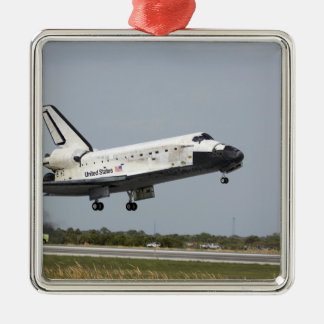 Space Shuttle Discovery approaches landing 3 Silver-Colored Square Ornament