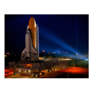 Space Shuttle Discovery at Night Postcard