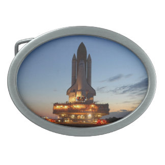 Space Shuttle Discovery on launch pad Oval Belt Buckles