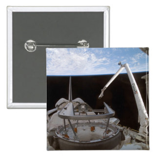 Space Shuttle Discovery's payload bay 2 2 Inch Square Button