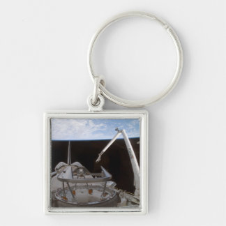 Space Shuttle Discovery's payload bay 2 Silver-Colored Square Keychain