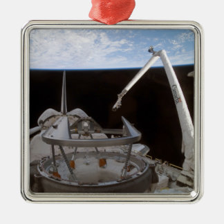 Space Shuttle Discovery's payload bay 2 Silver-Colored Square Ornament