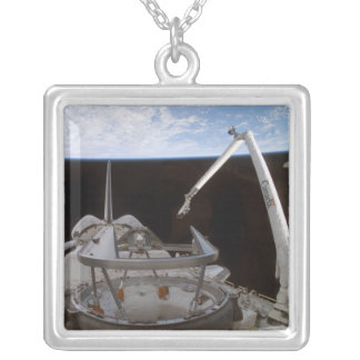 Space Shuttle Discovery's payload bay 2 Square Pendant Necklace