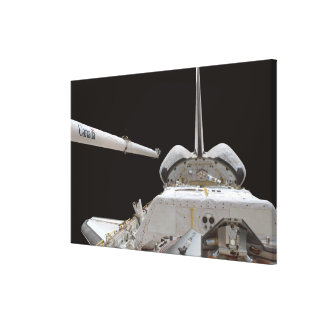 Space Shuttle Discovery's payload bay Stretched Canvas Print