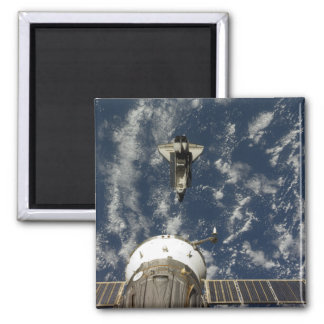 Space Shuttle Endeavour and a Soyuz spacecraft Square Magnet