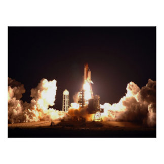 Space Shuttle Endeavour night lift-off Poster