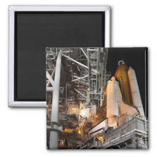 Space Shuttle Endeavour on the launch pad Square Magnet