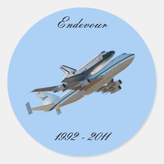 Space shuttle Endeavour Round Sticker