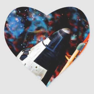 Space Shuttle Heart Sticker