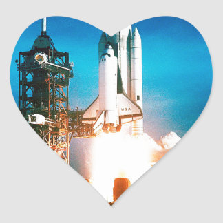 SPACE SHUTTLE LAUNCH HEART STICKER