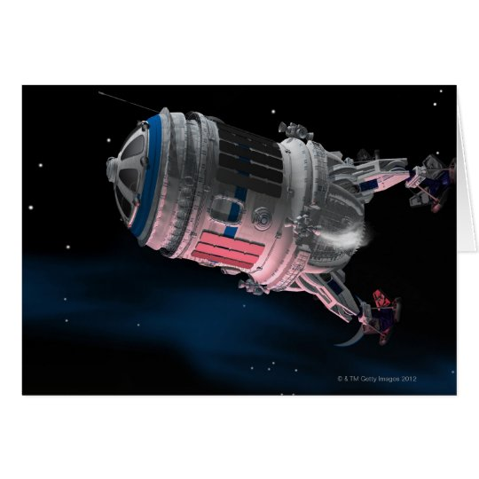 Space Shuttle Orbiting Mars Card