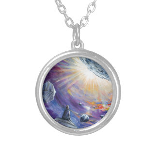 Space Silver Plated Necklace