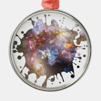 Space Splatter Silver-Colored Round Ornament