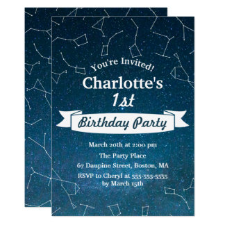 Space Star Constellation Astronomer Birthday Party Card