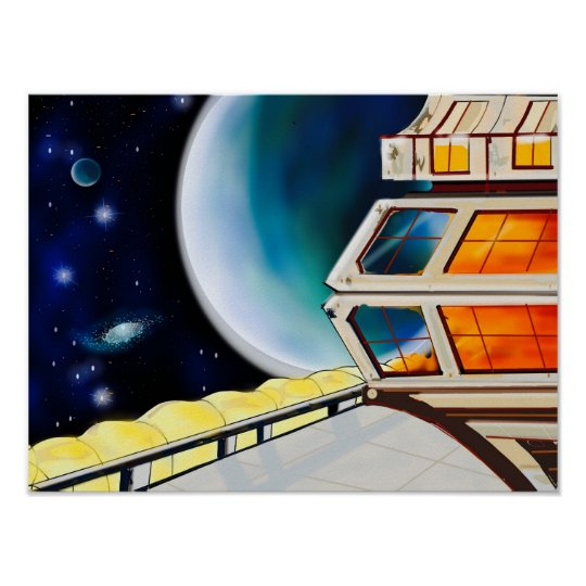 Space Station Art Poster