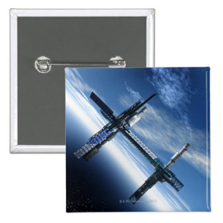 Space station. Computer artwork of a space 2 Inch Square Button