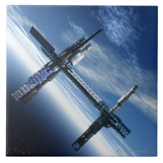 Space station. Computer artwork of a space Ceramic Tiles