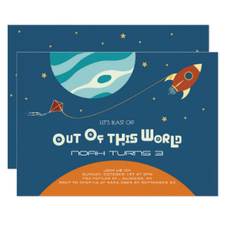 Space theme birthday, a blast out of of this world card