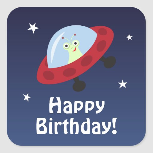 Space Theme Happy Birthday Sticker With Cute Alien