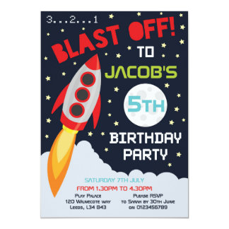 Space themed birthday party invitation