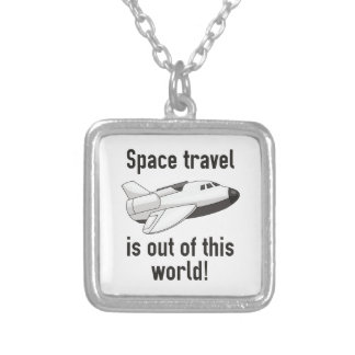 Space Travel Silver Plated Necklace