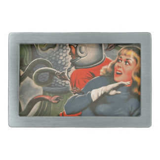 Space Travelers Attacked by Tentacle monster Rectangular Belt Buckle