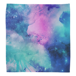 Space Universe Pink Blue Watercolor Star Nebula Bandana