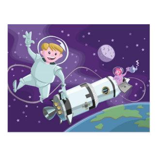 space walk astronaut couple having tea postcard