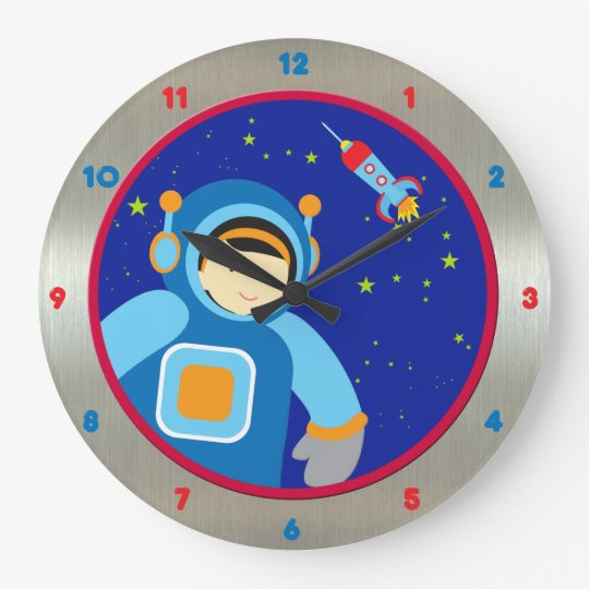 Spaceboy Floating Outside the Spaceship Large Clock