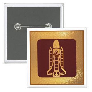 Spacecraft Jet Robot Star - Medal Icon Gold Base Pinback Button