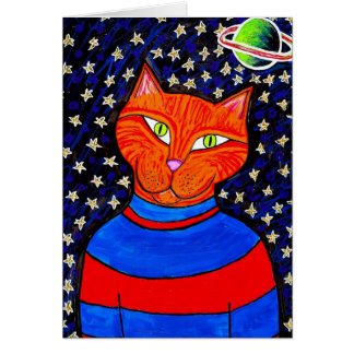 Spaced Out Cat Greeting Card