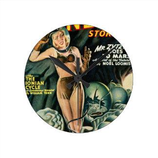Spacegirl Fights Slime Monsters Round Clock