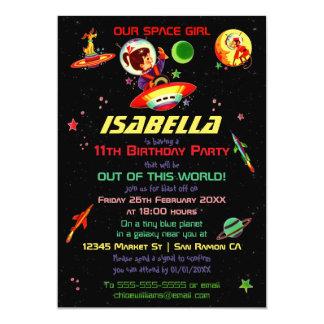 Spacegirl & Spacedog Girl's 11th Birthday Party Card