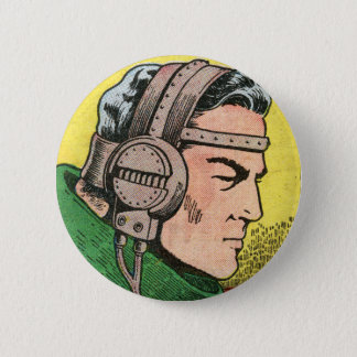 Spacehawk With Headphones by Basil Wolverton 2 Inch Round Button