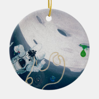 Spaceman and Moon Ceramic Ornament