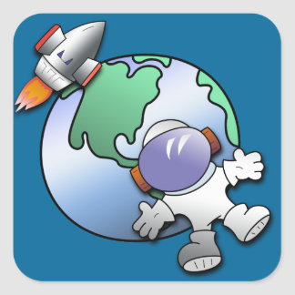 Spaceman and Planet Earth Square Sticker