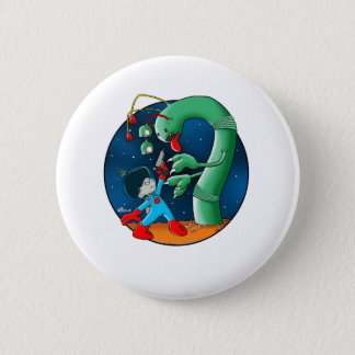 Spaceman & Dinosaur Worm 2 Inch Round Button