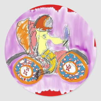 spaceman motorcycle classic round sticker