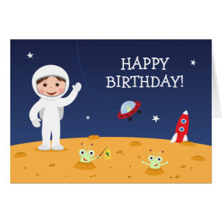 Spaceman on Mars Happy birthday greeting card